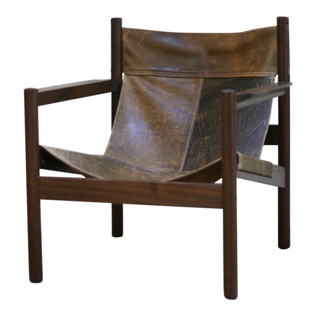 Michel Arnoult Leather Sling Chair For Sale