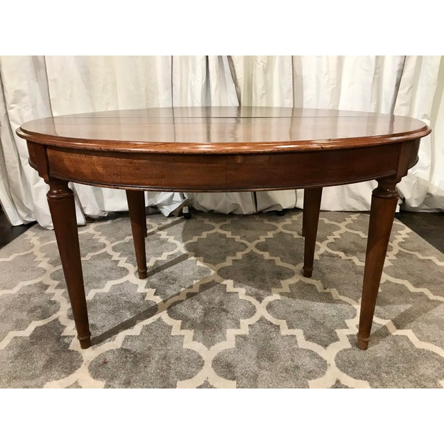 Louis Philippe Round Walnut Table With Leaves For Sale - Image 6 of 6