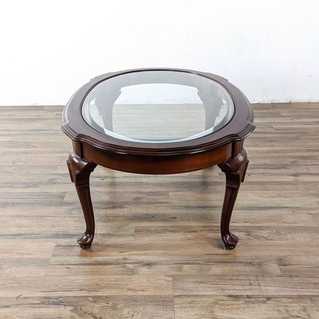 Vintage Ethan Allen Georgian Court Oval Glass Top Coffee Table For Sale In San Francisco - Image 6 of 8