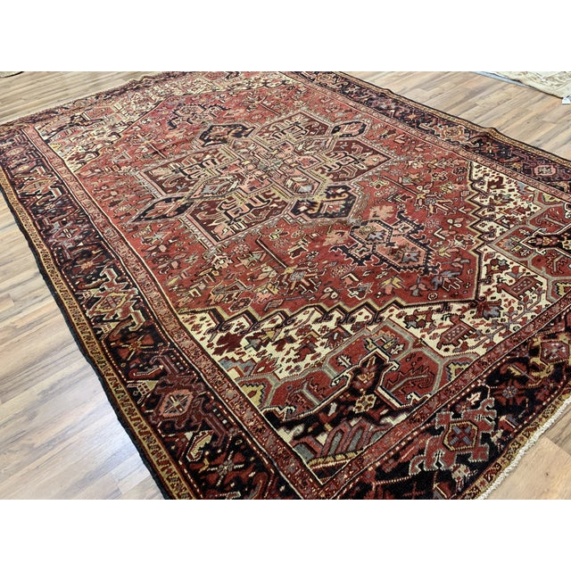 """This is old Persian Heriz, wool, hand knotted rug, with nice and sharp tones. Measurements are 8'3x12'5""""."""