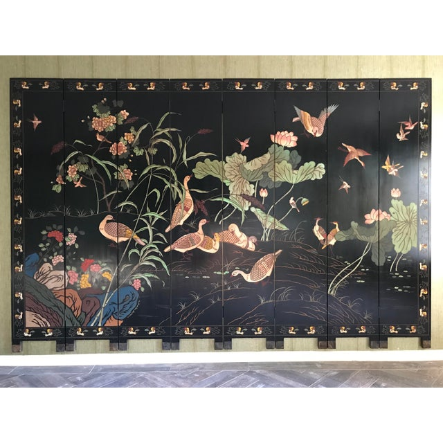 1980s Maitland-Smith Eight Panel Asian Lacquered Wood Screen Room Divider For Sale - Image 13 of 13