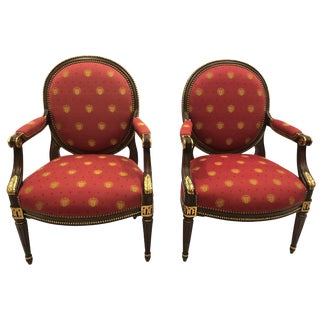 Pair of Impressive Ej Victor Gilded Walnut and Upholstered Armchairs For Sale