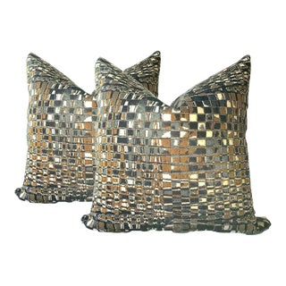 Contemporary Pillows in Grays and Gold - A Pair