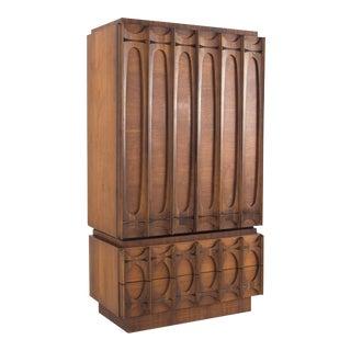 1960s Brutalist Armoire/Highboy Dresser For Sale