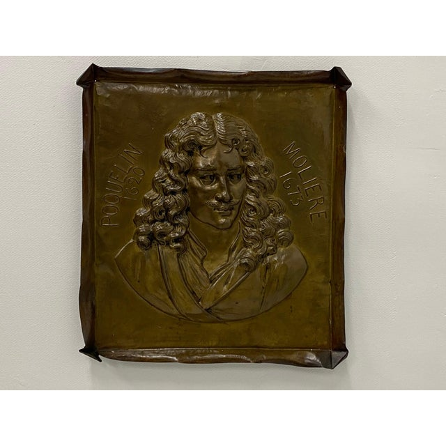 Metal Handmade Brass Plaque of Poet Moliere For Sale - Image 7 of 8