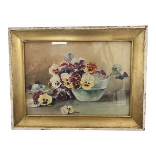 Mid 20th Century Pansies Watercolor Painting, Framed For Sale