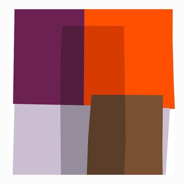 "Mid-Century Modern Purple and Orange Collage Fine Art Print 42"" X 60"" by Liz Roache For Sale - Image 3 of 5"