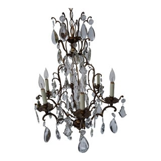 Classic French Cage Style Crystal Chandelier For Sale