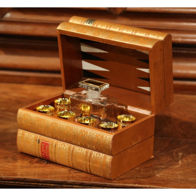 Mid-20th Century French Cave À Liqueur Leather Book with Shot Glasses and Carafe For Sale - Image 5 of 11