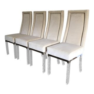Mid-Century Charles Hollis Jones Lucite & Chrome Chairs - Set of 4