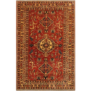 Super Kazak Garish Brenda Red/Ivory Wool Rug - 4'0 X 5'9 For Sale