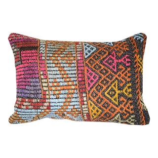 Vintage Turkish Cicim Pillow Cover, Lumbar Pillow Cover 14'' X 20'' (35 X 50 Cm) For Sale
