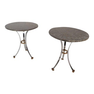 Mid-Century Modern Marble Top End Tables - a Pair