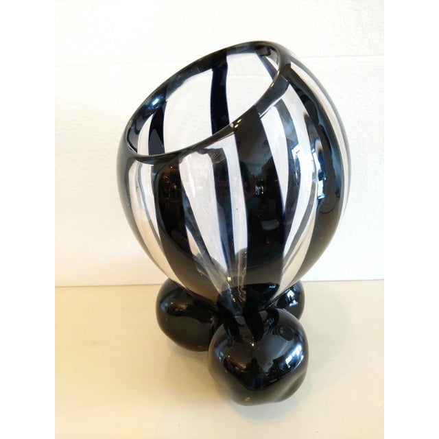 Pino Signoretto, Murano Black/Clear Art Glass Vase on Stand For Sale - Image 12 of 12