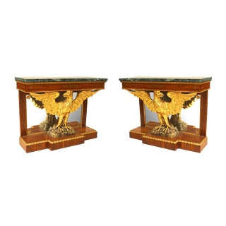 Pair of English Regency Style Console Tables For Sale