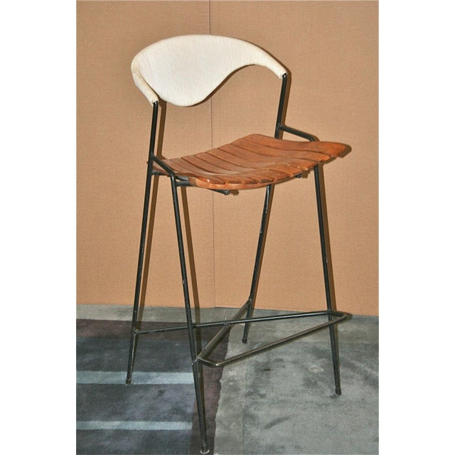 Vintage Arthur Umanoff Wrought Iron Barstools - Set of 5 - Image 7 of 11
