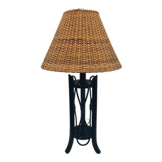 Vintage Bent Bamboo & Rattan Table Lamp For Sale