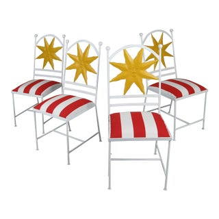 1960s Wrought Iron Shining Sun Chairs - Set of 4 For Sale