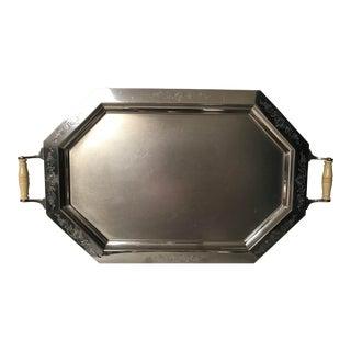 1920s Art Deco Landers, Frary & Clark Pewter Tray Bakelite Handles For Sale