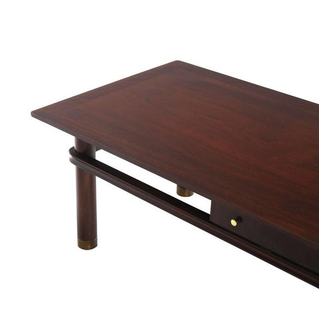 Mid-Century Modern Long Mid-Century Modern Walnut Coffee Table with Two Drawers For Sale - Image 3 of 9