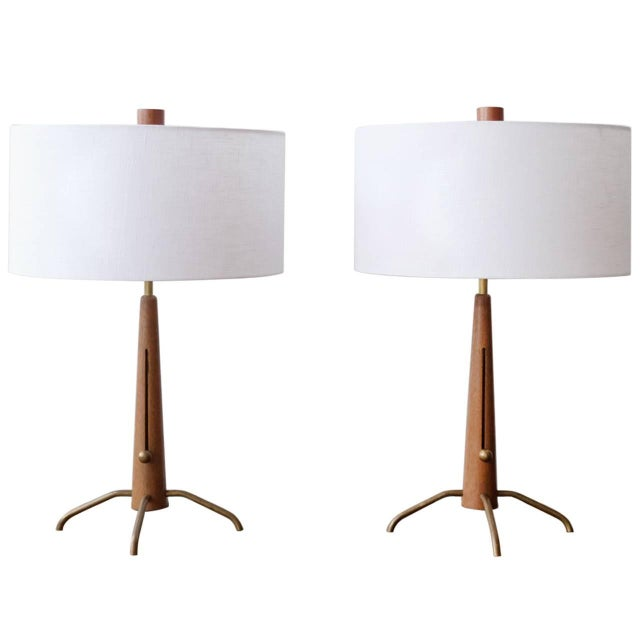 Walnut and Brass Gerald Thurston Adjustable Height Lamps For Sale - Image 10 of 10
