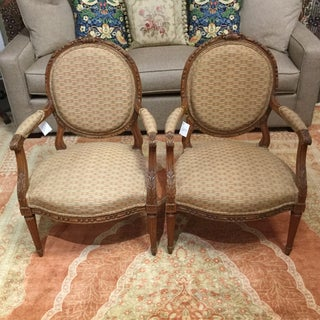 19th Century Italian Antique French Louis XVI Style Armchairs - a Pair Preview