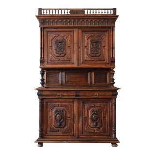 19th Century Ornately Carved French Renaissance Henri II Style Sideboard Cabinet For Sale