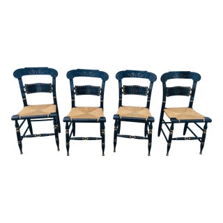 1960s Vintage Ethan Allen Dining Chairs Button Back Hitchcock- Set of 4 For Sale