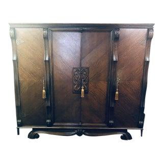 1920s Vintage Black Walnut Belgian Wardrobe For Sale