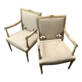 Louis XVI Style Arm Chairs - A Pair For Sale