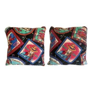 Pair of Vintage Western Cowboy Decorative Pillows For Sale