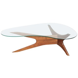1960's Mid-Century Adrian Pearsall Walnut & Glass Kidney Coffee Table For Sale