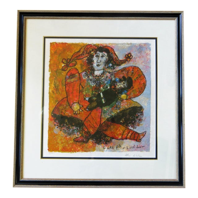 """Theo Tobiasse """"The Little Girl and The Old Man"""" Lithograph For Sale"""