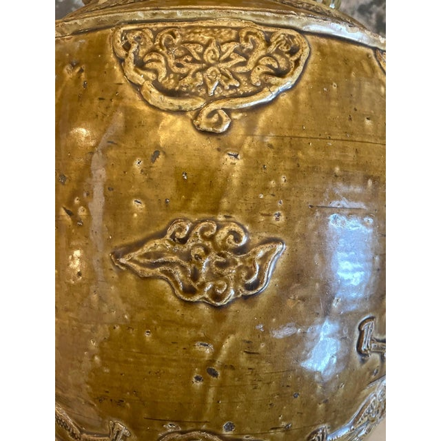 Chinese Chinese Stoneware Storage Martaban Jars with Dragon Relief For Sale - Image 3 of 13