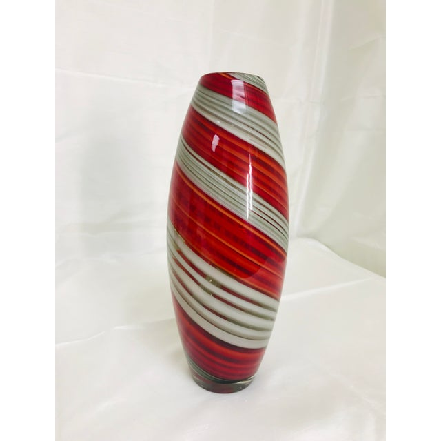 Glass Contemporary Art Glass Red & Grey Swirl Vase For Sale - Image 7 of 7