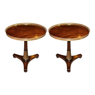 Midcentury Regency Style Mahogany Side Tables with Brass Gallery - A Pair For Sale