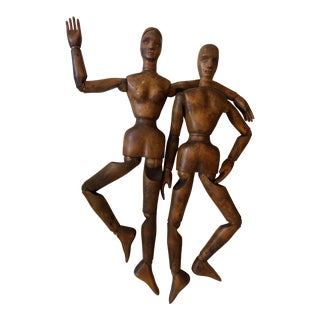 1920s Antique Handmade French Articulated Artist Mannequin Couple - a Pair For Sale