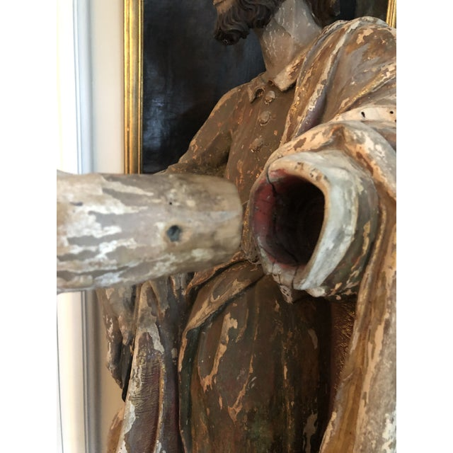 Red 17th Century Continental Carved Wood Gesso Polychrome Apostle Sculpture For Sale - Image 8 of 13