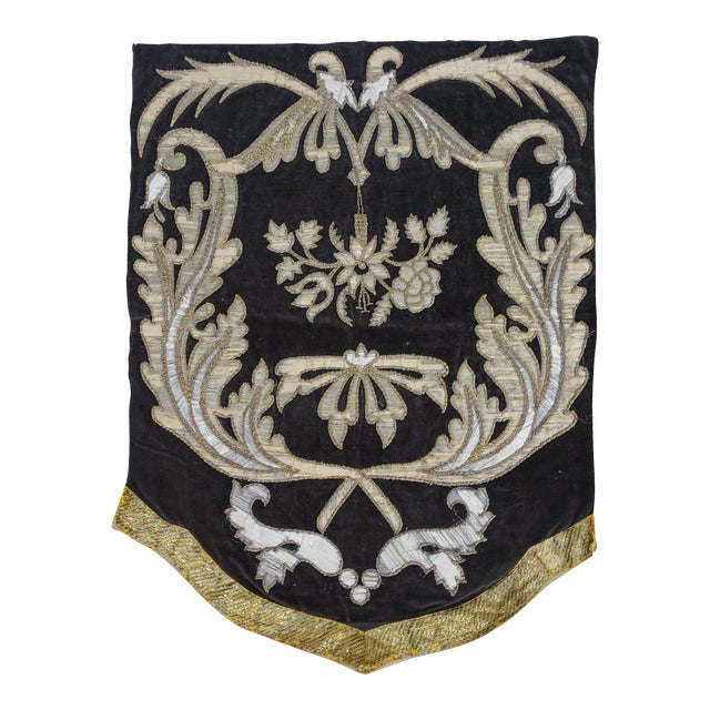 19th Century Italian Gold and Silver Metallic Appliqued Textile For Sale
