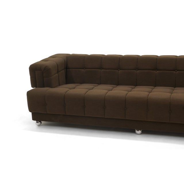 Mid-Century Modern Even Arm Tufted Chesterfield Sofa, 1970s, New Upholstery, Very Comfortable For Sale - Image 3 of 7