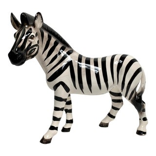 Oversized Hand Painted Ceramic Zebra Figure For Sale