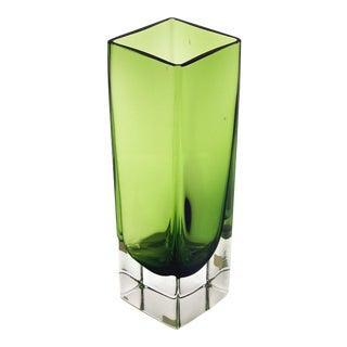 1960s Vintage Aseda Sweden Square Green Crystal Glass Vase For Sale