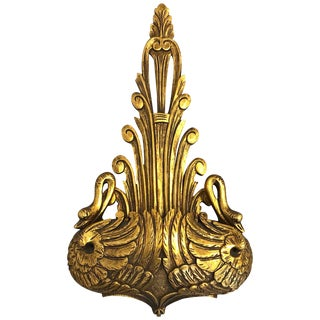 1960s, Italian Large Gilded Wall Bracket Planter With Swan Motif For Sale