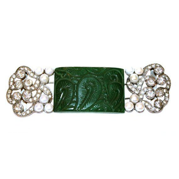 C.1930's Bakelite and Cultured Pearl Belt Buckles For Sale - Image 4 of 4