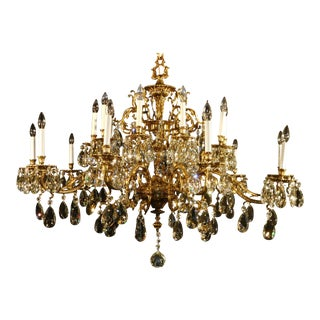 Antique Brass Russian Winter Palace 54 Wide Cut Lead Crystal Chandelier For Sale