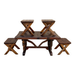 Indonesian Teak Dining Table Set With 4 Bench Seats For Sale