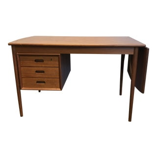 Danish Modern Teak Drop-Leaf Desk by Ew Bach for Oddense Maskinsnedkeri