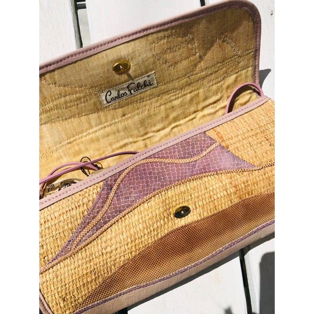 Vintage Carlos Falchi Raffia and Snakeskin Clutch For Sale - Image 4 of 5