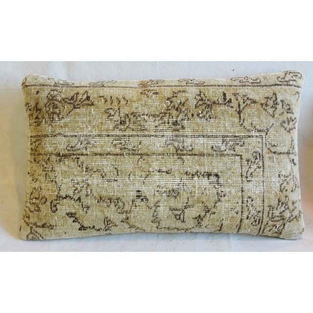 "Contemporary Antique Soumak Carpet Wool Feather/Down Pillows 26"" X 16"" - Pair For Sale - Image 3 of 13"