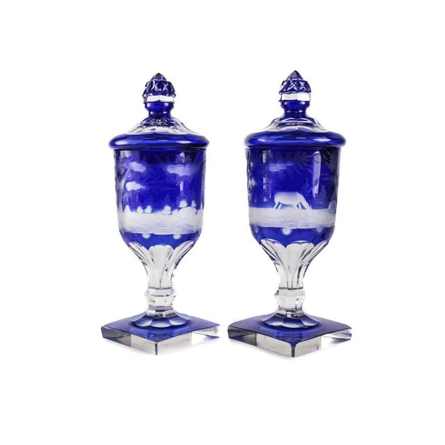 Pair Bohemian Two Layer Blue Cut Clear Glass Lidded Urns, 19th Century. Hunting Scene - Image 5 of 5